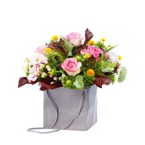 Arrangement Of Roses And Tender Eustomas