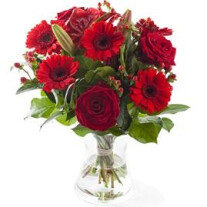 Red mixed bouquet, excl. vase