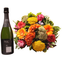 Colorful bouquet with Cava