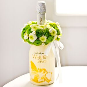 Sparkling Wine Decorated with Flowers